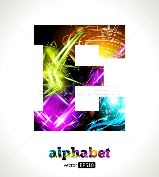 Foto stock: Vetor · customizáveis · luz · efeito · carta · alfabeto