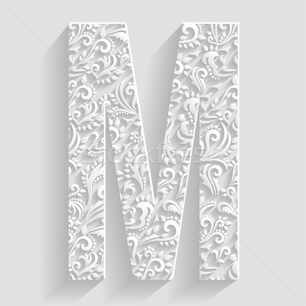 letter m vector floral invitation cards decorative font vector