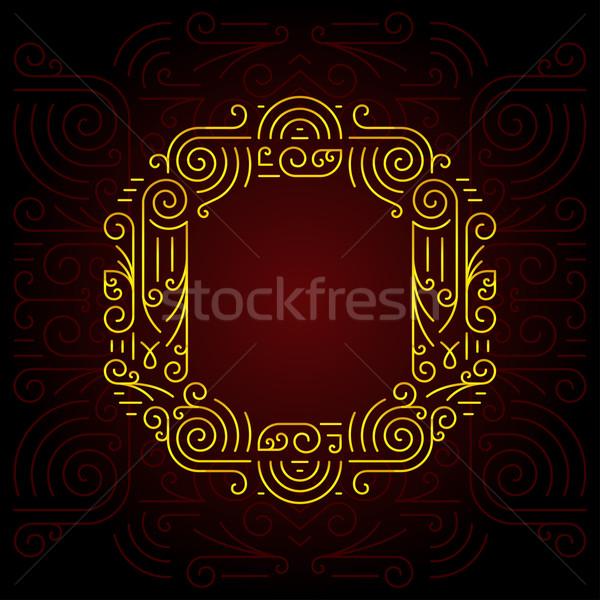 Wektora złota line stylu geometryczny chrzcielnica Zdjęcia stock © Designer_things