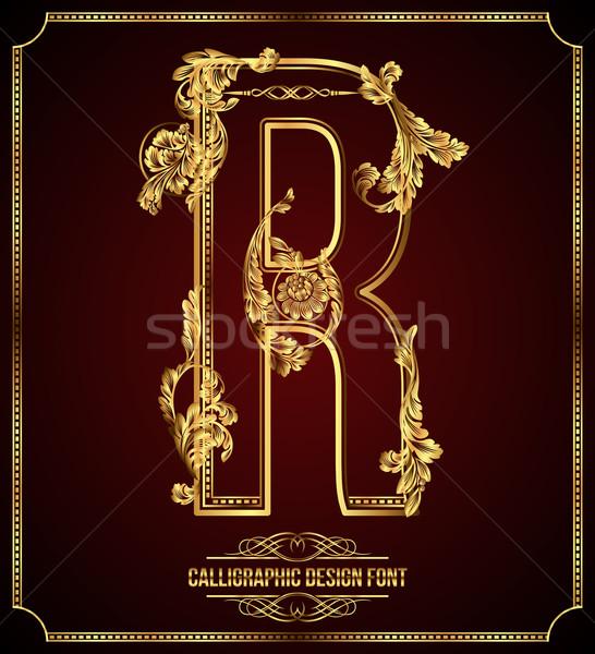 Calligraphic Design Font with Typographic Floral Elements. Premium design elements on dark backgroun Stock photo © Designer_things