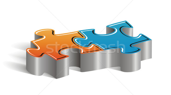 Stock photo: Couple of puzzle pieces
