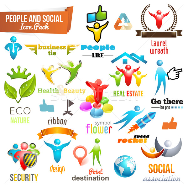 People Social Community 3d icon and Symbol Pack. Vector design elements. Change color of icons in ac Stock photo © Designer_things