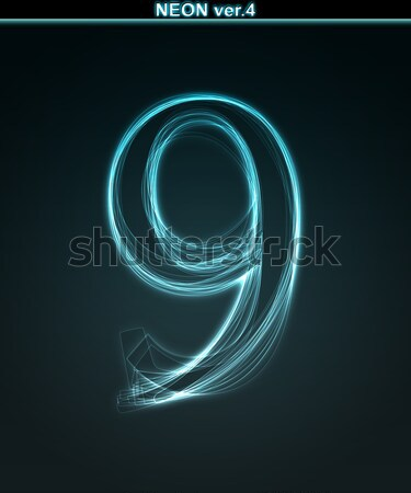 Glowing font. Shiny number 9 Stock photo © Designer_things
