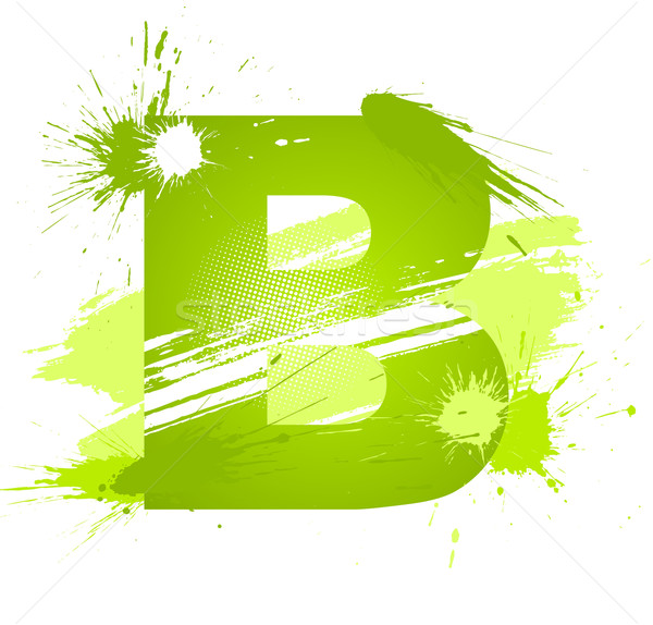 Green abstract paint splashes font. Letter B Stock photo © Designer_things