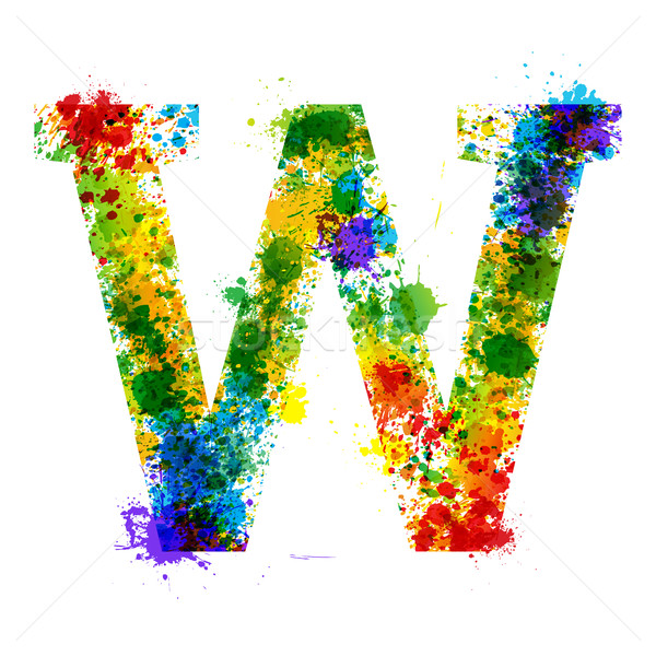 Stock photo: Color Paint Splashes. Gradient Vector Font. Watercolor Designer Decoration Alphabet. Ink Symbols Iso