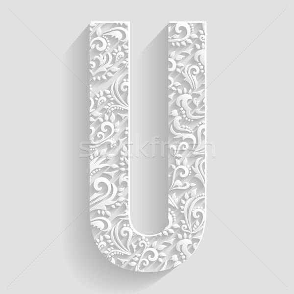 Letter U Vector Floral Invitation Cards Decorative Font Vector