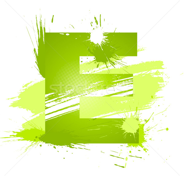 Green abstract paint splashes font. Letter E Stock photo © Designer_things