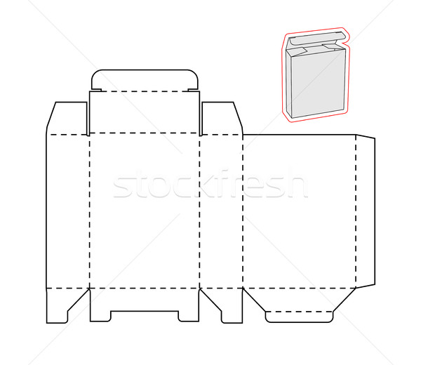 Template of a simple Box. Cut out of Paper or cardboard Box. Box with Die-cut Stock photo © Designer_things