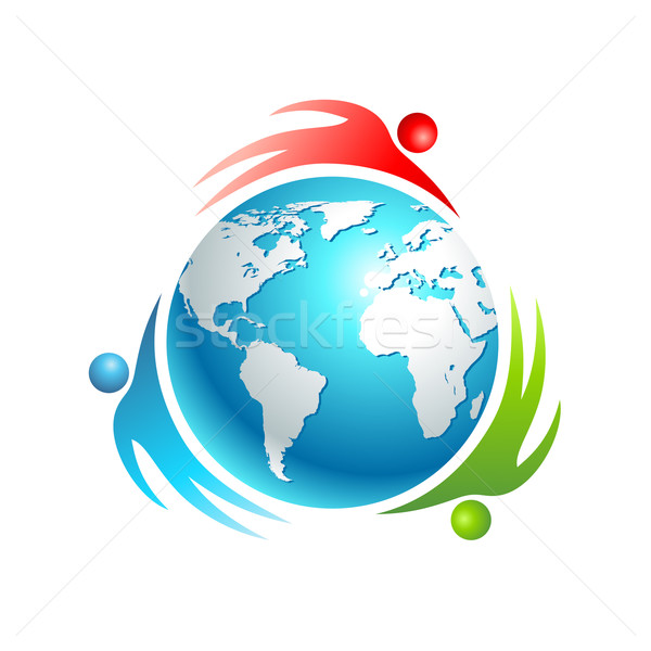 Social mundo icono vector personas alrededor Foto stock © Designer_things