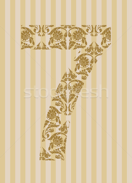 Floral font. Number 7 Stock photo © Designer_things