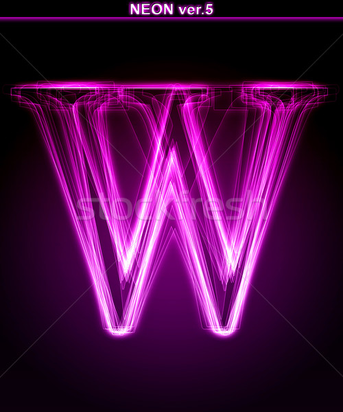 Glowing font. Shiny letter W. Stock photo © Designer_things