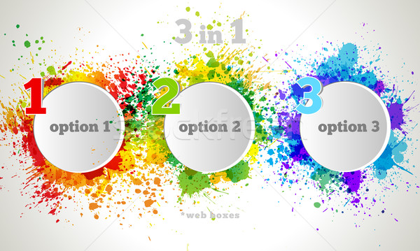 Vector Graphic Design Button and Labels Template. Color paint splashes gradient option banners Stock photo © Designer_things