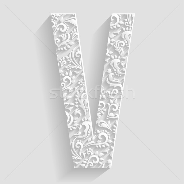 Letter V. Vector Floral Invitation cards Decorative Font Stock photo © Designer_things