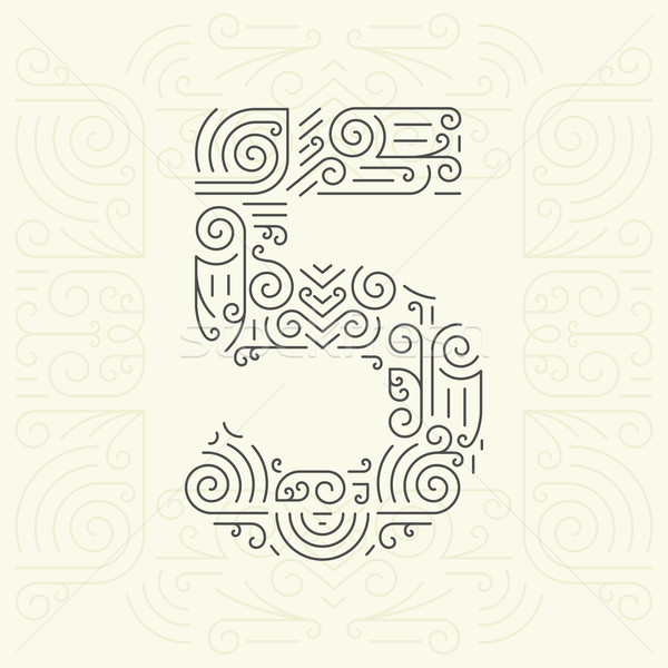 Vector Mono Line style Geometric Font for Your Text. Number 5 Stock photo © Designer_things