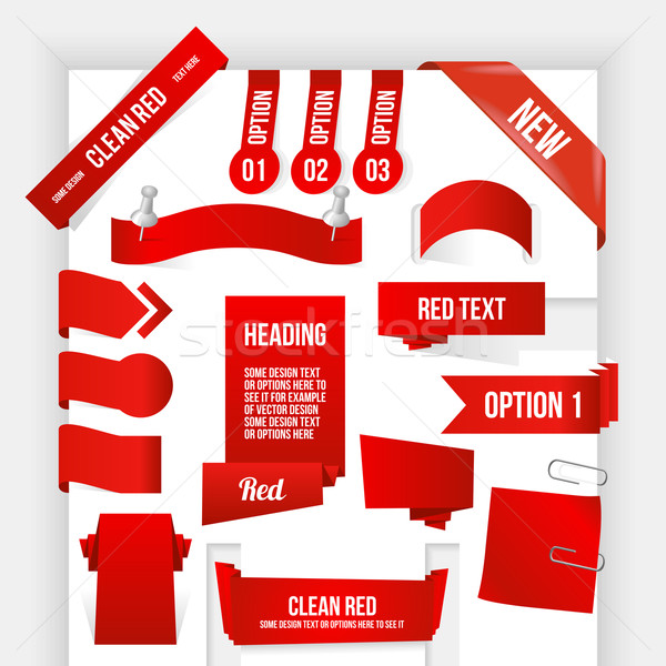 Bundle of Red Web Elements. Corner and Ribbon Collection Stock photo © Designer_things