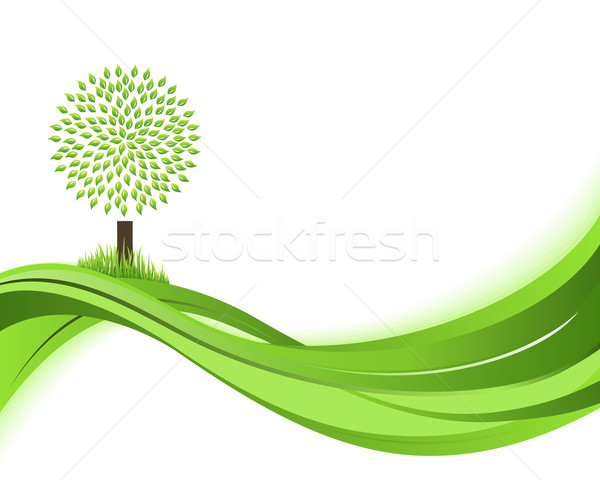 Green nature background. Eco concept illustration. Abstract green vector illustration with copyspace Stock photo © Designer_things
