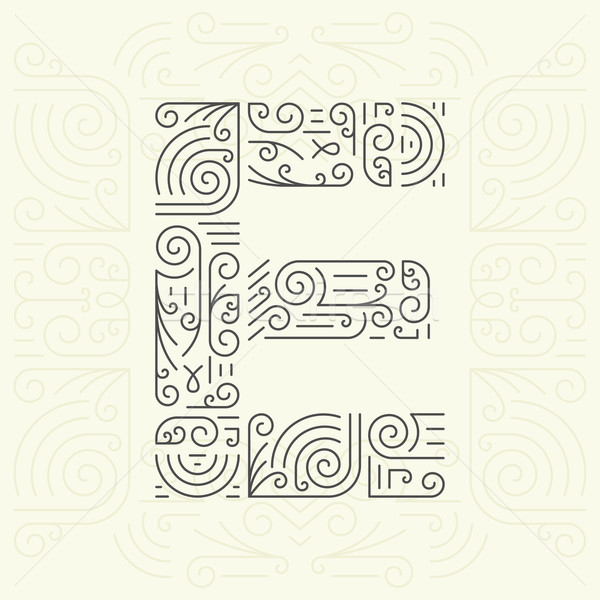 Vecteur ligne style géométrique police texte Photo stock © Designer_things