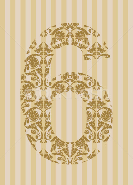 Floral font. Number 6 Stock photo © Designer_things