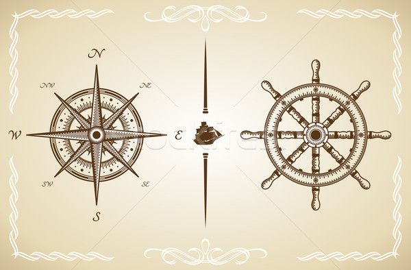 Vector Vintage Compass and Rudder Stock photo © Designer_things