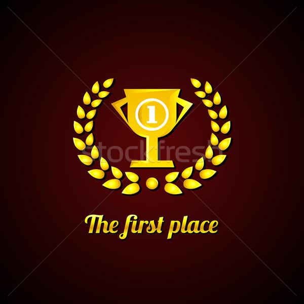 Primo posto oro alloro ghirlanda Cup business Foto d'archivio © Designer_things