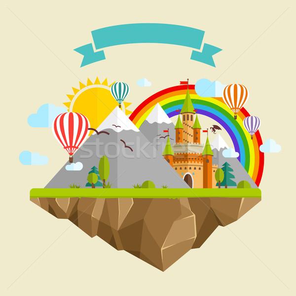 Uçan ada masal kale balonlar dağlar Stok fotoğraf © Designer_things