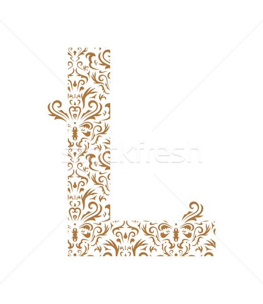 フローラル 手紙 飾り フォント 孤立した 白 ストックフォト © Designer_things