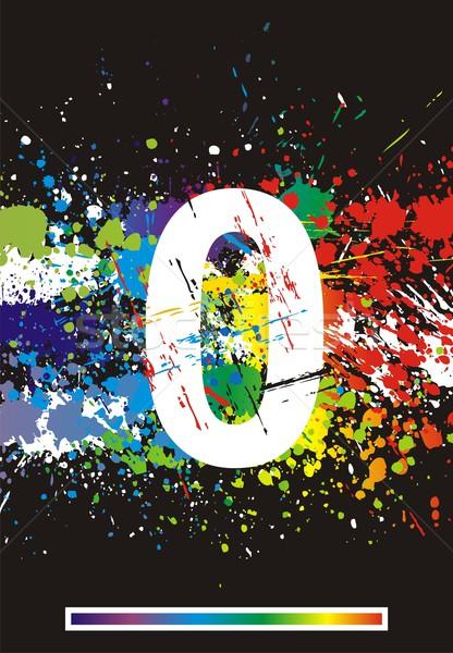 Stock photo: Color paint splashes font