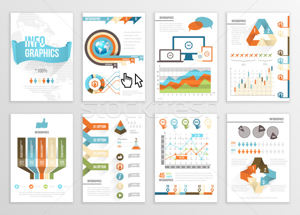 Groot ingesteld infographics communie business illustraties Stockfoto © Designer_things