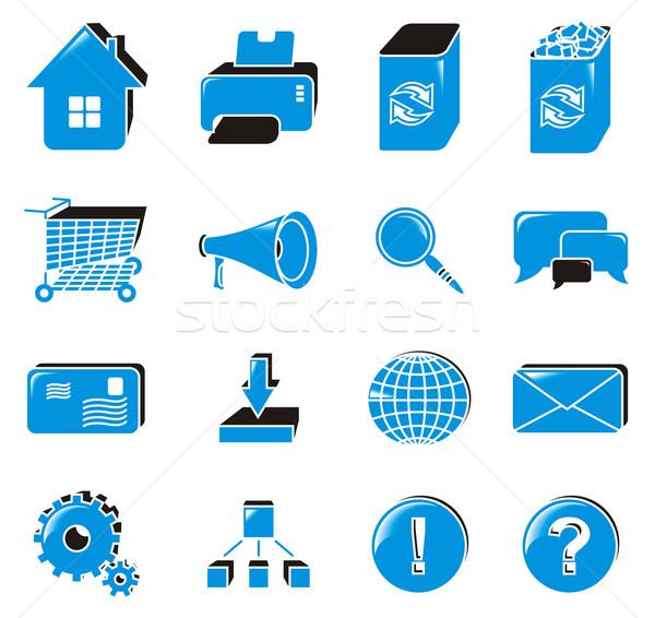 Web simgesi ayarlamak toplama web simgeleri mavi iş Stok fotoğraf © Designer_things