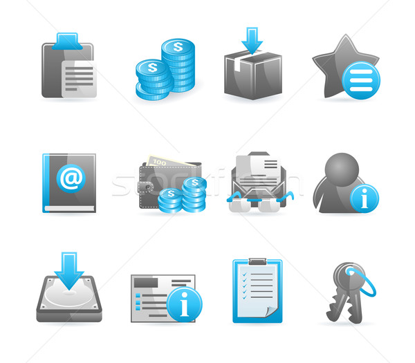 Stock photo: Blue glossy icon set