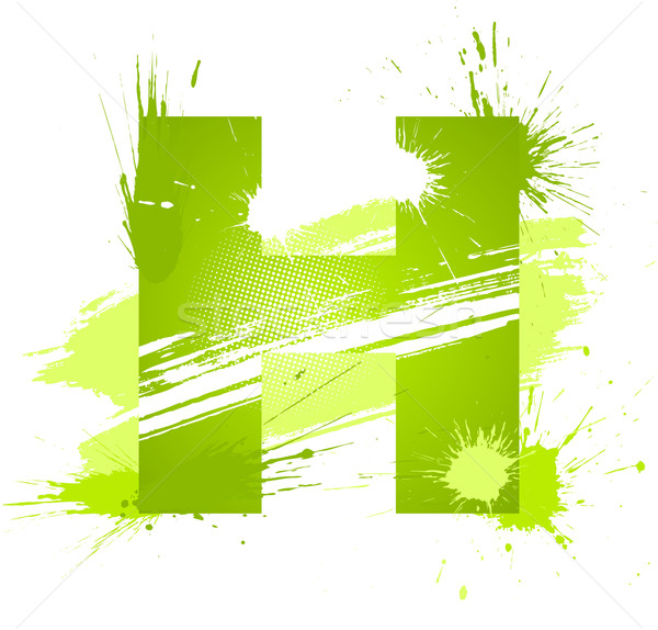 Green abstract paint splashes font. Letter H Stock photo © Designer_things