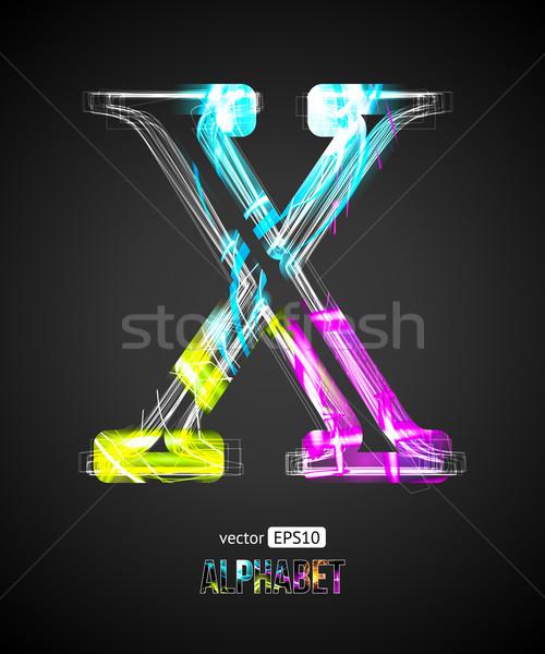 Vector Design Light Effect Alphabet. Letter X on a Black Background. Stock photo © Designer_things