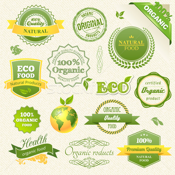 Vector alimentele ecologice eco bio etichete element Imagine de stoc © Designer_things