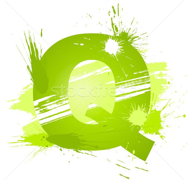 Stock fotó: Zöld · absztrakt · festék · csobbanások · betűtípus · q · betű