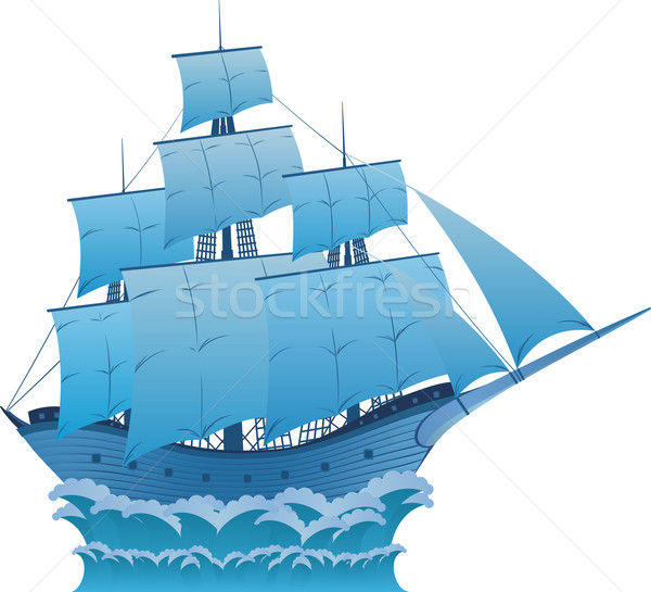 Bleu rêve anciens bois voilier blanche Photo stock © Designer_things