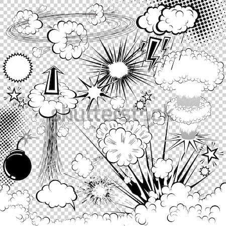 Vector comic book explosion elements for your design Stock photo © Designer_things