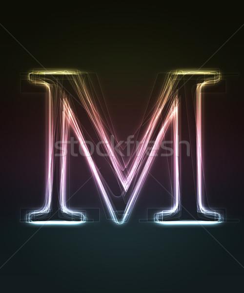 Doopvont letter m neon brief Stockfoto © Designer_things