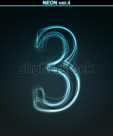 Glowing font. Shiny number 3 Stock photo © Designer_things