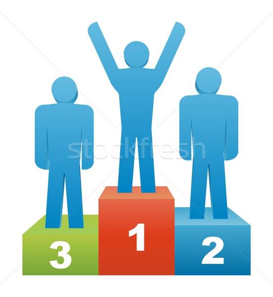 Foto stock: Vencedor · três · pessoas · vencedores · segundo · lugar · primeiro · lugar