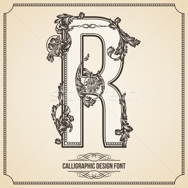 Calligraphic Design Font. Letter R Stock photo © Designer_things