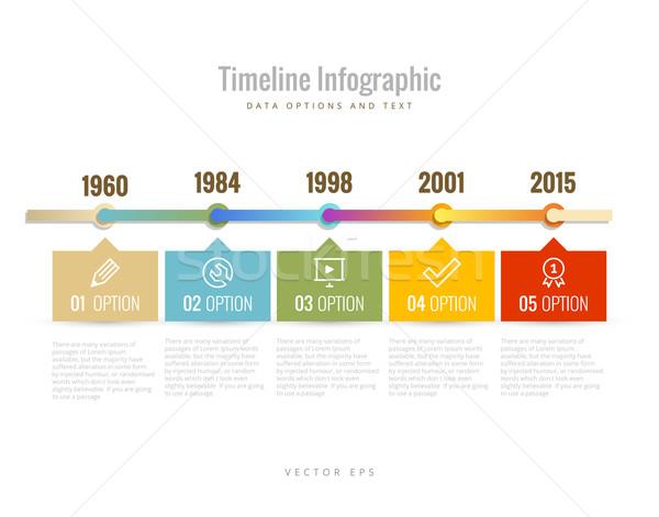 Idővonal infografika diagramok adat lehetőségek szöveg Stock fotó © Designer_things