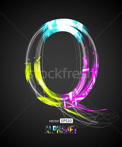 Vector Design Light Effect Alphabet. Letter Q on a Black Background. Stock photo © Designer_things