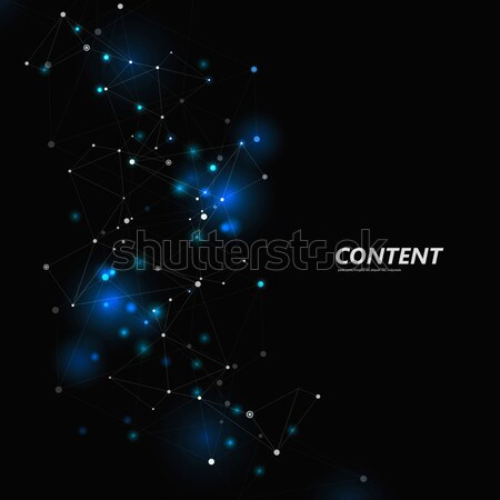 Abstract triangle structure. Network design with connecting dot and line. Vector dark space backgrou Stock photo © designleo