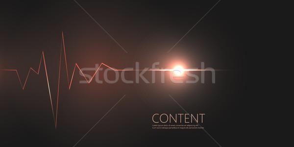 Abstract cardiogram on dark background. Vector banner design Stock photo © designleo
