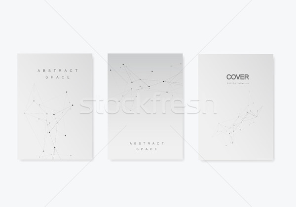 Set vector brochures template with connect design. Abstract technology pattern, compound dots and li Stock photo © designleo