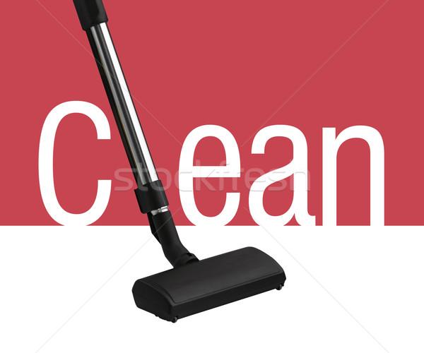 Foto stock: Aspirador · de · pó · branco · vermelho · limpar · palavra · casa