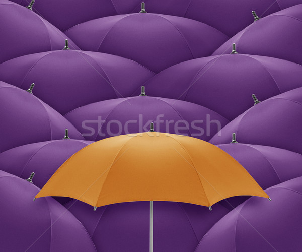 Parapluie orange foule individualité Photo stock © designsstock