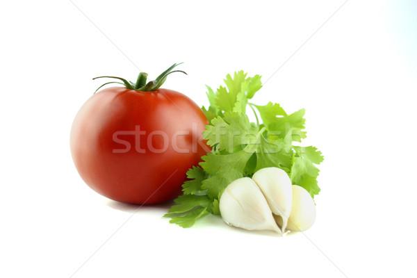 Сток-фото: свежие · помидоров · чеснока · петрушка · белый