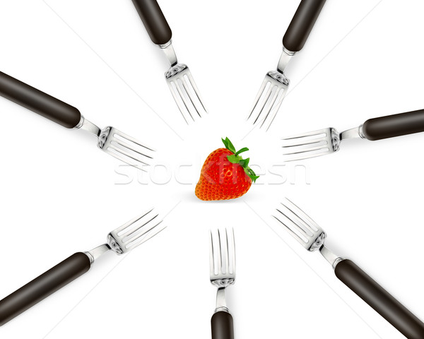 one strawberry between set of forks Stock photo © designsstock