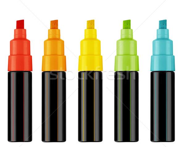 Szövegkiemelő tollak színes szöveg munka út Stock fotó © designsstock